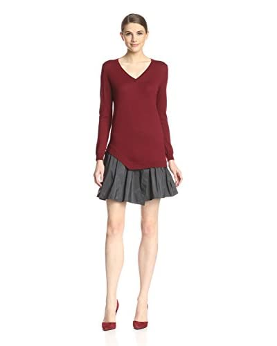 Carven Women's Knit & Faille Dress  [Burgundy]