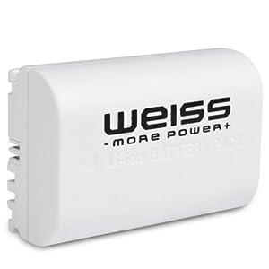 WEISS - Batterie LI-Ion semblable à Canon LP-E6 / LPE6 (1600 mAh) - compatible avec le chargeur d origine et avec l affichage des fonctions sur l appareil
