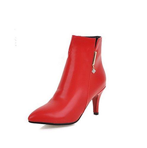 VogueZone009 Donna Bassa Altezza Chiodato Cerniera Scarpe A Punta Tacco Alto Stivali, Rosso, 37