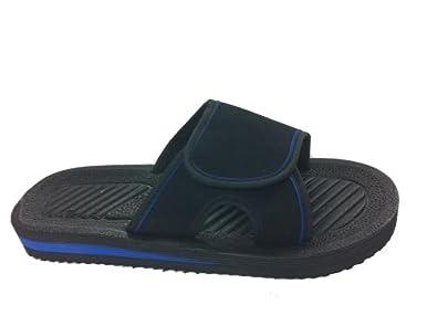 Mens Velcro Flip Flops - Beach Mules - Sandals - New (7, Black/Blue)