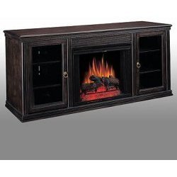 Multifunctional TV Stand with Cabinets &amp; Fireplace (Espresso) (32&quot; H x 72&quot; W x 22&quot; D)