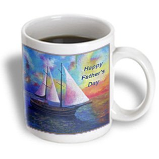 3Drose Happy Fathers Day, Blue, Boats, Impressionism, Orange, Sailboat, Ceramic Mug, 15-Oz