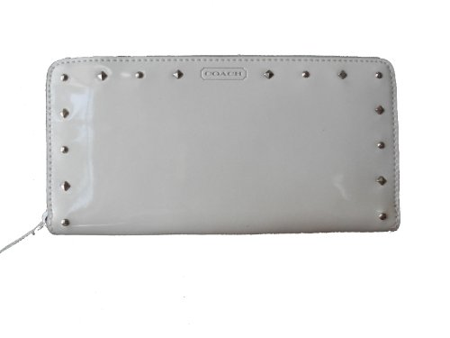 Coach   Coach 50681 Ivory Studded Liquid Gloss Accordion Zip Around Wallet