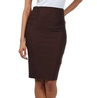 IMI-5235 Petite High Waist Stretch Pencil Skirt With Shirred Waist Detail - Brown / 1X