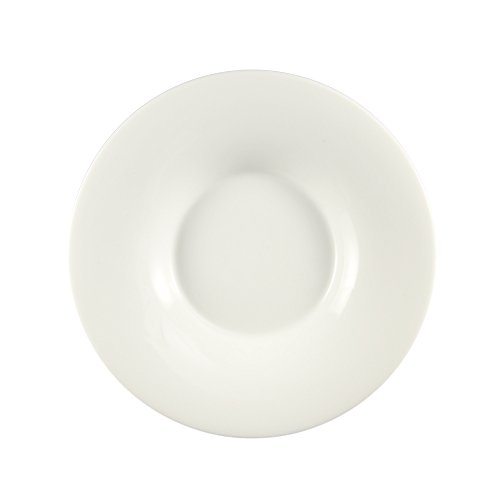 CAC China SHA-F105 Sushia Super White Porcelain Round Coupe Plate with Wide Rim, 10-3/4 by 10-3/4 by 1-3/8-Inch, 12-Pack