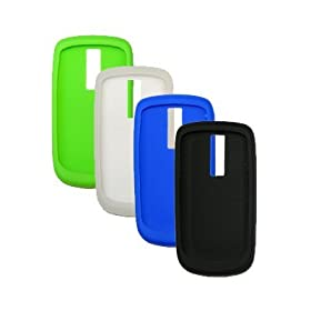 4 Pack of Soft Silicone Gel Skin Cover Cases for T-Mobile Google G2 HTC Magic / Mytouch 3G (Black / Blue / Clear / Neon Green)