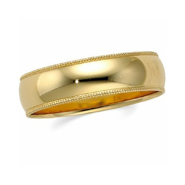 10K Yellow Gold, Milgrain Wedding Band 8MM (sz 5.5)