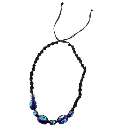 Rosallini Woman Blue Evil Eye Beads Adjustable Braided Necklace