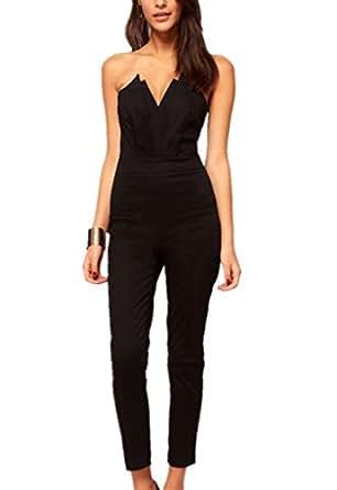 cfanny women 39 s elegant stylish black jumpsuit. Black Bedroom Furniture Sets. Home Design Ideas