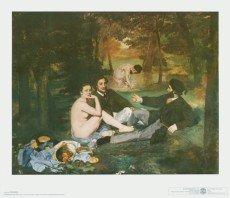 "Leinwandbild ""Fruehstueck im Freien"" von Édouard Manet, 51.0 x 40.0cm, Motiv bis an die Kanten, Kunstdruck, Poster, Malerei, Impressionismus, landschaft, Gesellschaft, Fluss, Badende, Nackte, Frauen, Maenner, Erotik, hochwertige Fertigung - Art Galerie Shop"
