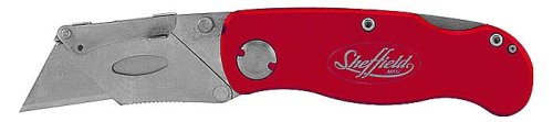 Sheffield 12614 One Hand Opening Lock-Back Utility Knife, Red