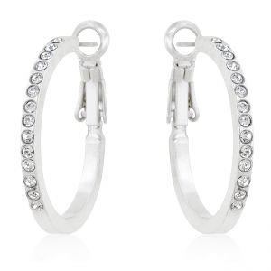 18K White Gold GP Swarovski Crystal Hoop Earrings 25mm
