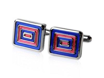 Bold Blue and Red Rectangular Bulls eye Silver Cufflinks by Cuff-Daddy