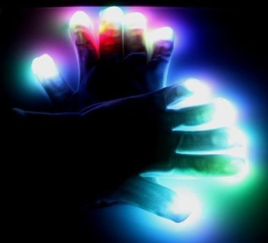 Teenitor Blacked Out Gloves RGB LED 7 Colors Light Show Gloves - Large
