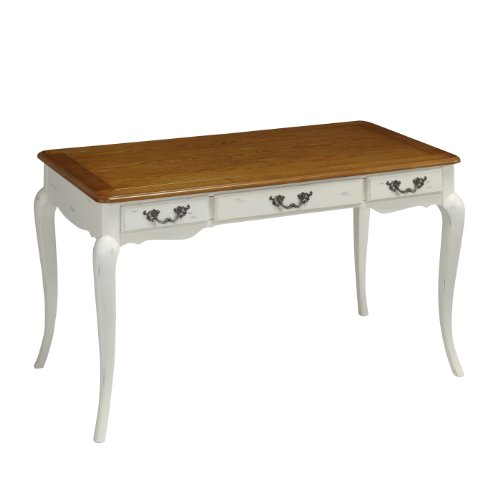 Home Styles 5518-15 The French Countryside Executive Desk, Oak And Rubbed White front-976683