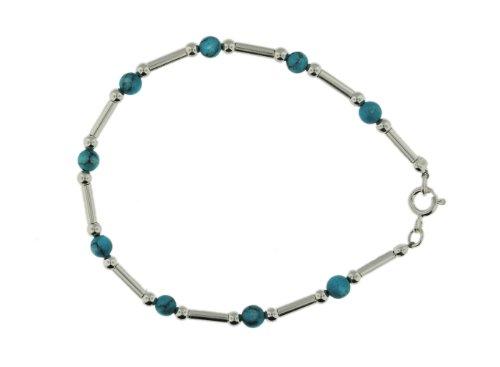 Silver Turquoise Bead & Bar Bracelet 19cm
