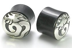 SILVER DRAGON Natural Horn Body Jewelry – Wholesale Plugs – Price Per 1 20mm~13/16″