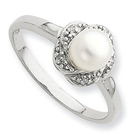 Genuine IceCarats Designer Jewelry Gift Sterling Silver Rhodium 6Mm Fw Cult Button Pearl & Diamond Ring Size 6.00