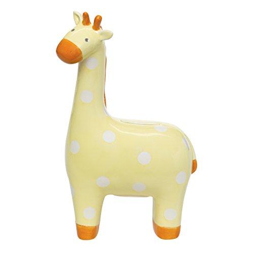 Elegant Baby Ceramic Giraffe Bank with White Polka Dots, Yellow
