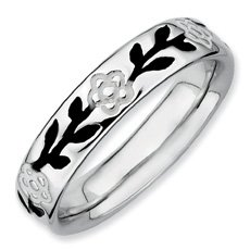 Cute Silver Stackable Enameled Flower Band. Sizes 5-10 Available