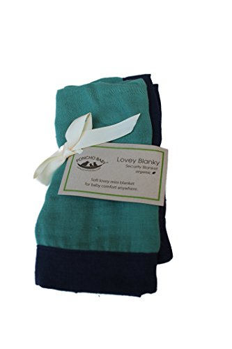 Poncho Baby Organic Security Blanket, Lovey Blanky, Emerald/Navy Blue