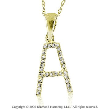 14k YG Large Casual Fun Diamond ^A^ Initial Pendant