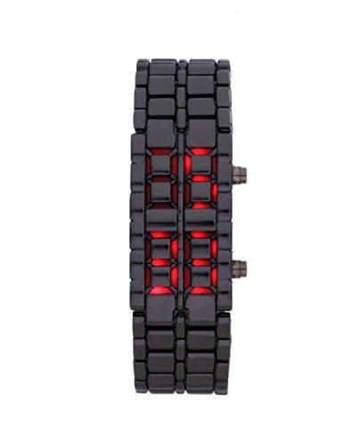 Baolihao Digital Lava Style Iron Sport Women Red Led Faceless Wrist Watch Wth0383