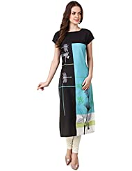 Binny Creation Women's Art Crepe Digital Print Straight Kurta (BK1019-SC-04)