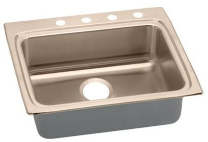 Elkao|#Elkay LRAD252260X-CU 18 Gauge Cuverro Antimicrobial copper 25 Inch x 22 Inch x 6 Inch single Bowl Top Mount Sink,