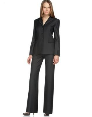 Brilliant Calvin Klein Women39s Black White Pant Suit  Free Shipping Today