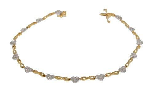 9ct 2 Colour Gold 0.10ct Diamond Heart Twist Bracelet 19cm/7.5