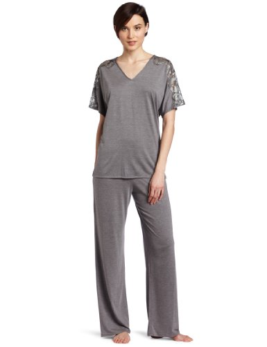 Natori Women's Padma Inseam Short Sleeve Pyjama, Heather Grey, Large