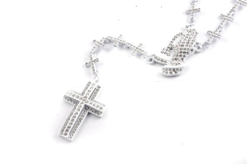 New! Iced Out Cross Linked Chain Rosary w/ Praying Hands & Paves Cross WHITE