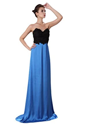 Women's Elegant Strapless Sweetheart Lace Beads Floor Length Party Bridesmaid Dress-Blue-6