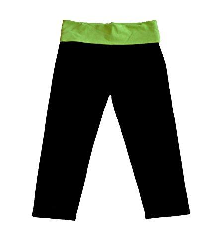 Stretch Is Comfort Women'S Foldover Knee Length Leggings Lime Green Medium