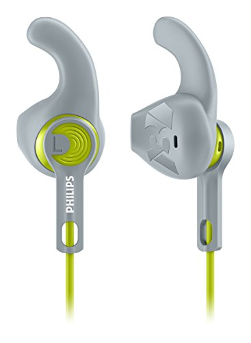 Philips SHQ1300LF ActionFit - Auriculares deportivos (almohadillas antideslizantes, graves potentes), verde/gris