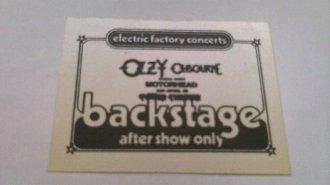 1981 Efc Ozzy Osbourne Randy Rhoads Motorhead Backstage Pass