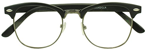 Sunglass Stop - Round Half Frame Horned Rim Clear Uv400 Lens Clubmaster Eye Glasses (Matte Black | Gun Metal , Clear ) (Half Rimmed Sunglasses For Women compare prices)