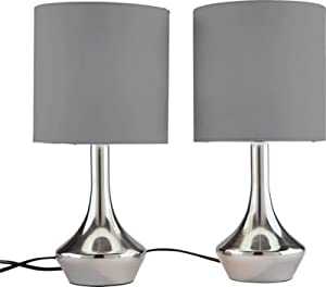Touch Table Lamps | Chrome & Smoke Grey (Set of 2)
