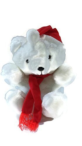 "Plush 8"" Christmas Teddy Bear, White with Red Hat & Scarf - 1"