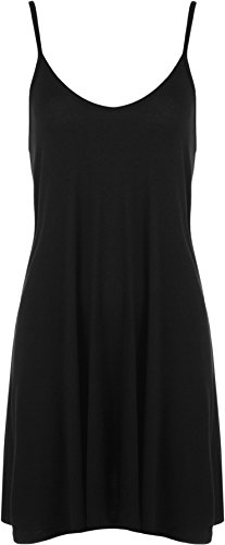 WearAll Women's Plain Basic Strappy Casual Flared Short Swing Dress - Black - US 8-10 (UK 12-14)