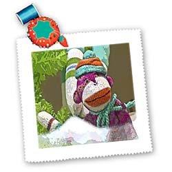 Lee Hiller Designs Colorful Sock Monkeys - Colorful Sock Monkeys Hoilday II - Quilt Squares