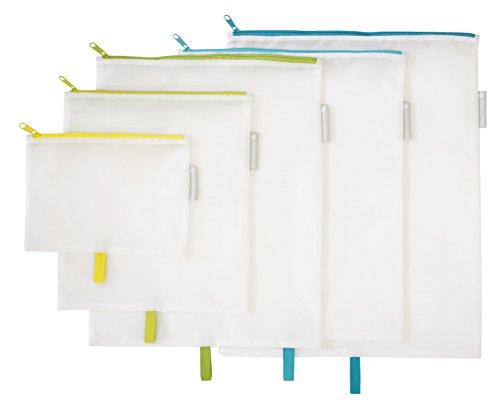 Flip & Tumble Packing Zip Pouches Set Of 5, White, One Size