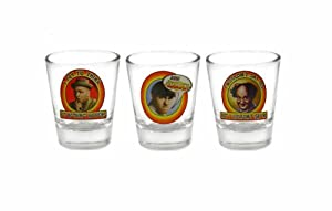 The Three Stooges Character Shot Glass Set, Set of 3