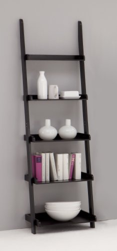 LEITERN Black 5-Tiered Ladder Shelf Bookcase Display Unit *CLEARANCE*