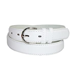 CTM® Womens Leather 1 1/8 Inch Basic Dress Belt, Medium, White