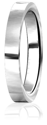 Plain Mens or Ladies Flat Wedding Band, 3mm wide, 2mm thick, comfort fit in Sterling Silver - size 4.75