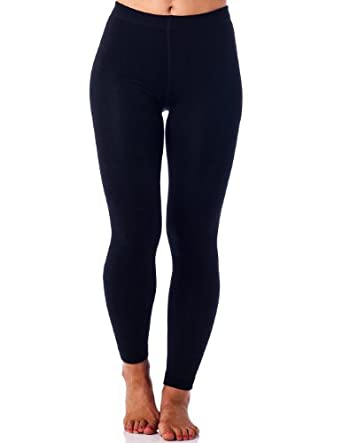Gold Medal Womens warm winter fleece lined leggings-black-Lg/Xl
