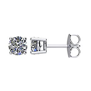 IceCarats Designer Jewelry 14K White Gold 1 Ctw Diamond Friction Post Stud Earrings.