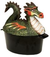 Porcelain Enamel Dragon Steamer, 2.2 Quart